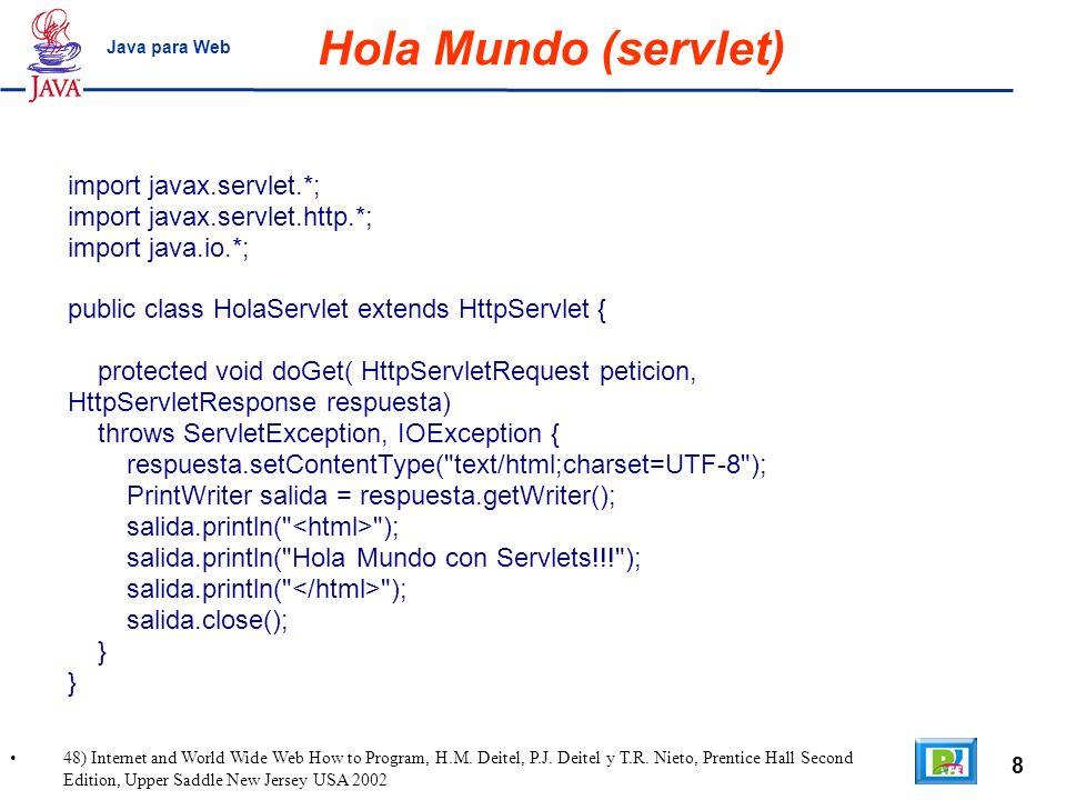Hola Mundo (servlet) import javax.servlet.*;
