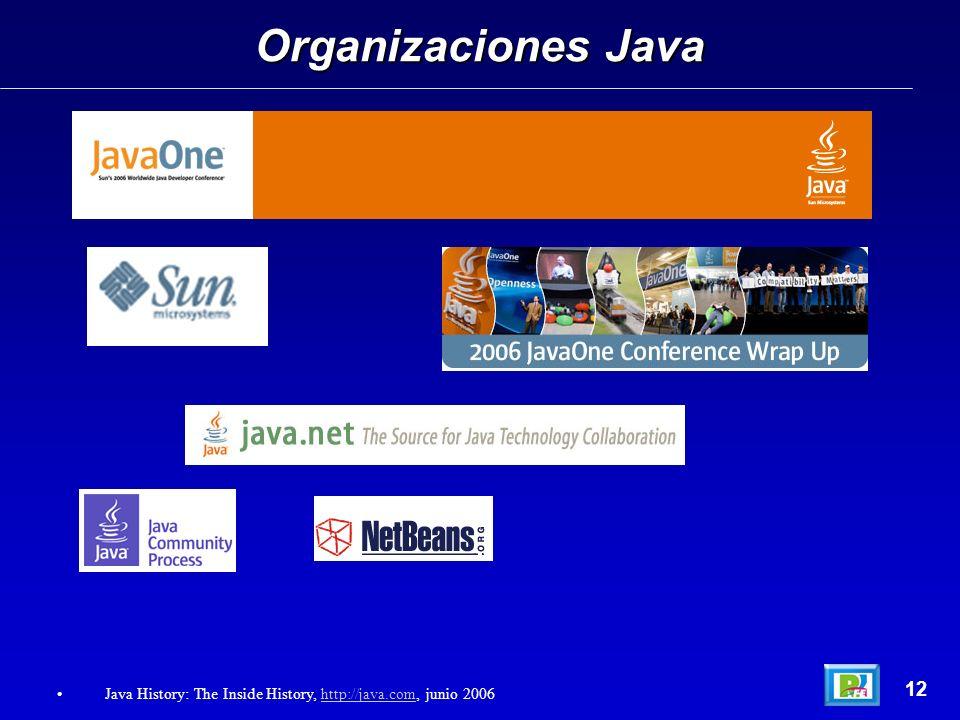 Organizaciones Java 12 Java History: The Inside History, http://java.com, junio 2006