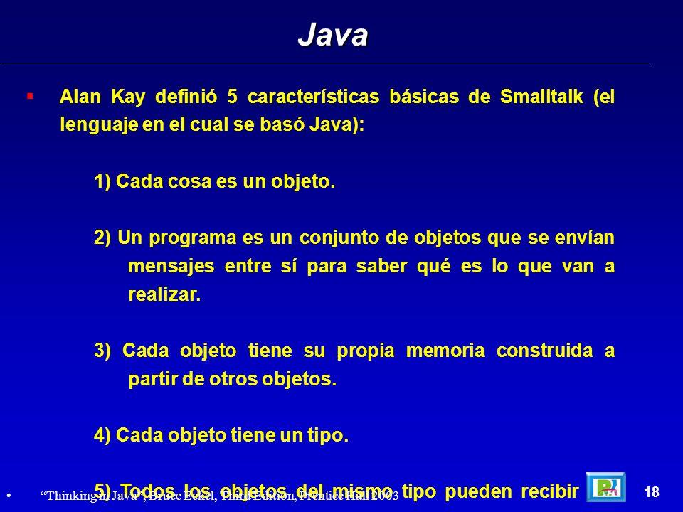 Java Alan Kay definió 5 características básicas de Smalltalk (el lenguaje en el cual se basó Java):