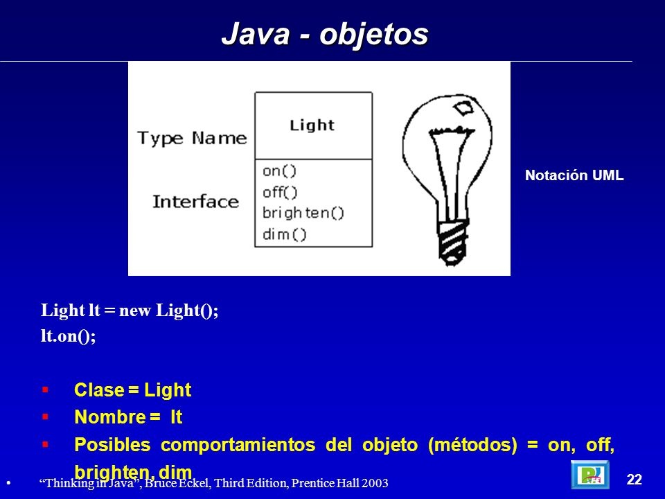 Java - objetos Light lt = new Light(); lt.on(); Clase = Light