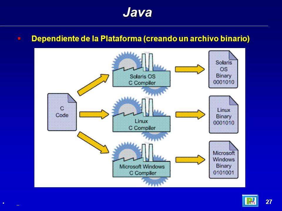 Java Dependiente de la Plataforma (creando un archivo binario) 27 _