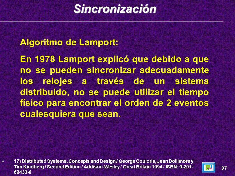 Sincronización Algoritmo de Lamport: