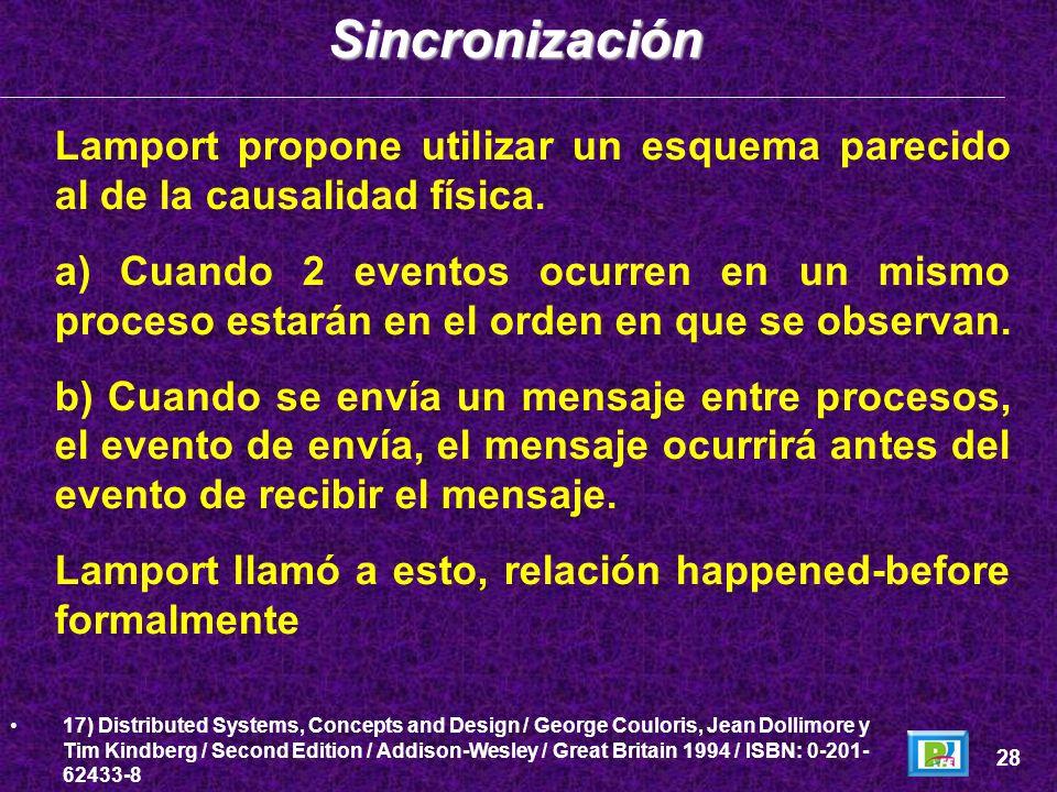 SincronizaciónLamport propone utilizar un esquema parecido al de la causalidad física.