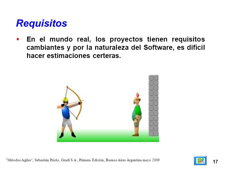 Requisitos En el mundo real, los proyectos tienen requisitos cambiantes y por la naturaleza del Software, es difícil hacer estimaciones certeras.