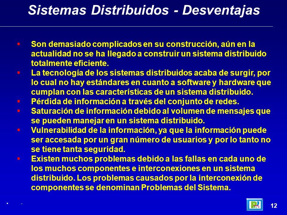 Sistemas Distribuidos - Desventajas