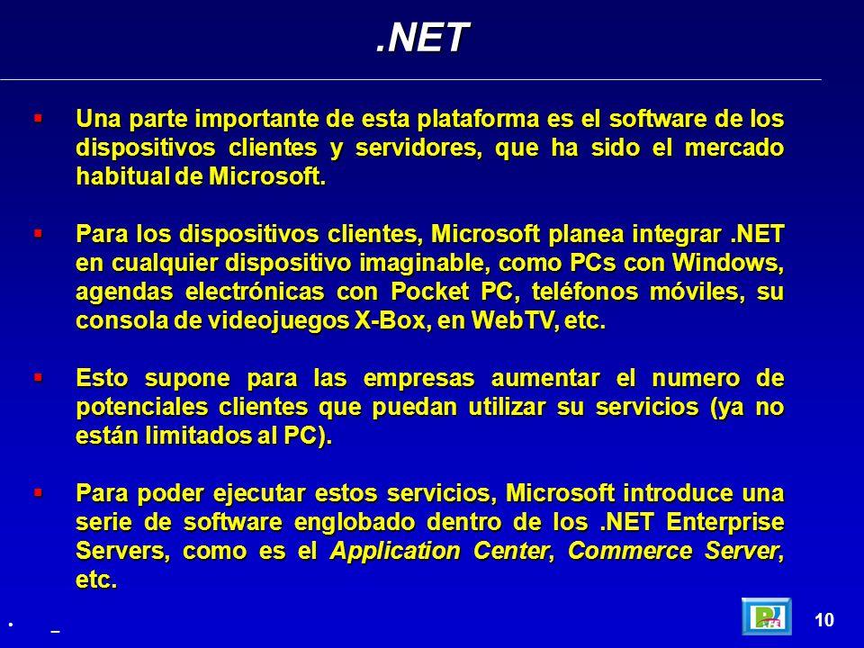 .NET Una parte importante de esta plataforma es el software de los dispositivos clientes y servidores, que ha sido el mercado habitual de Microsoft.