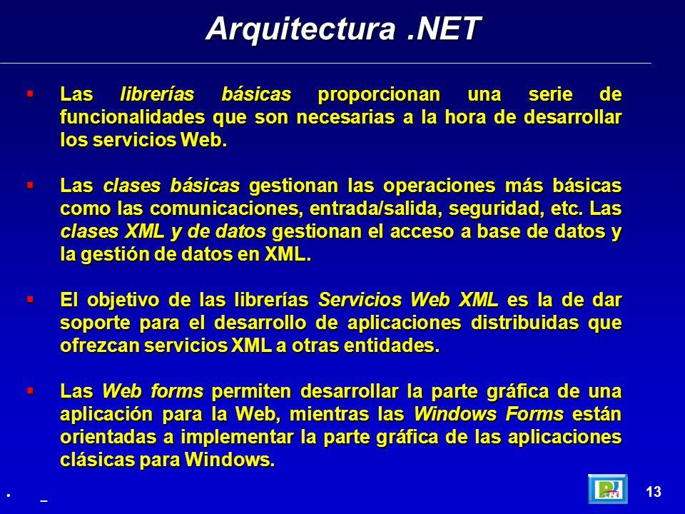 Arquitectura .NET Las librerías básicas proporcionan una serie de funcionalidades que son necesarias a la hora de desarrollar los servicios Web.