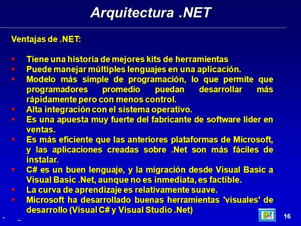 Arquitectura .NET Ventajas de .NET: