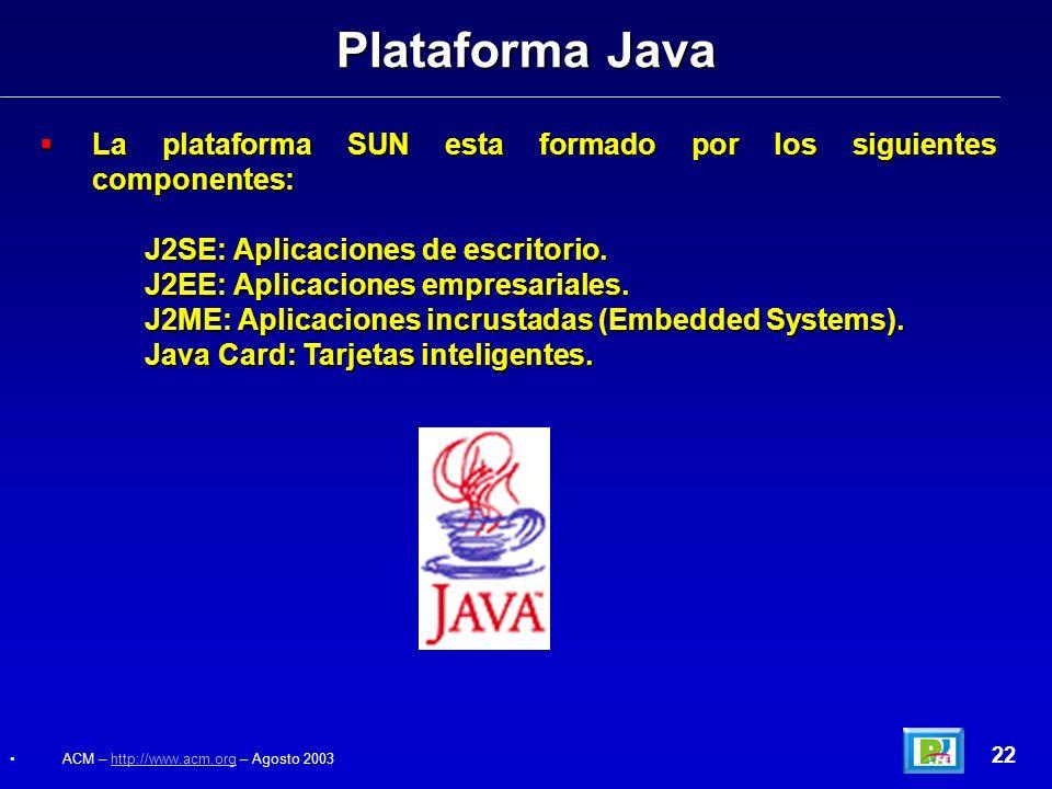 Plataforma Java La plataforma SUN esta formado por los siguientes componentes: J2SE: Aplicaciones de escritorio.