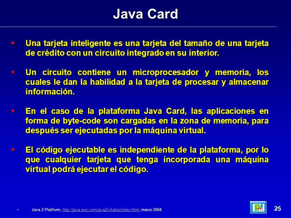 Java Card Una tarjeta inteligente es una tarjeta del tamaño de una tarjeta de crédito con un circuito integrado en su interior.