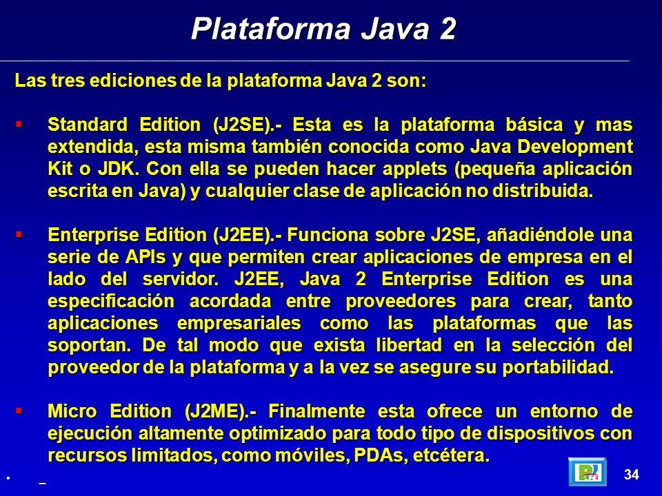 Plataforma Java 2 Las tres ediciones de la plataforma Java 2 son:
