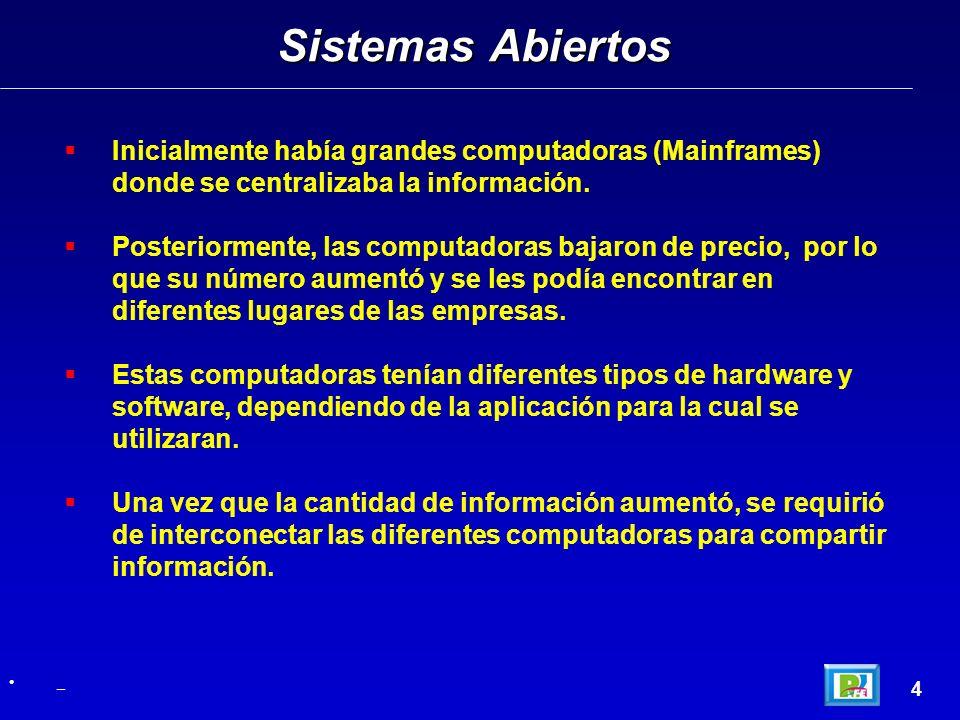 Sistemas Abiertos Inicialmente había grandes computadoras (Mainframes) donde se centralizaba la información.