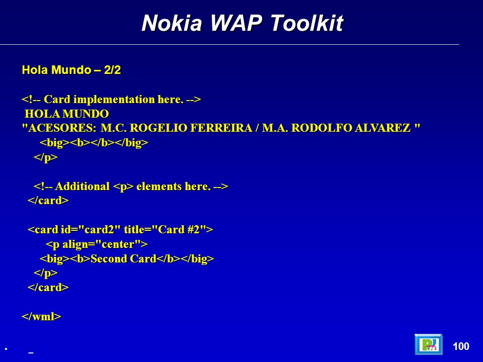 Nokia WAP Toolkit Hola Mundo – 2/2