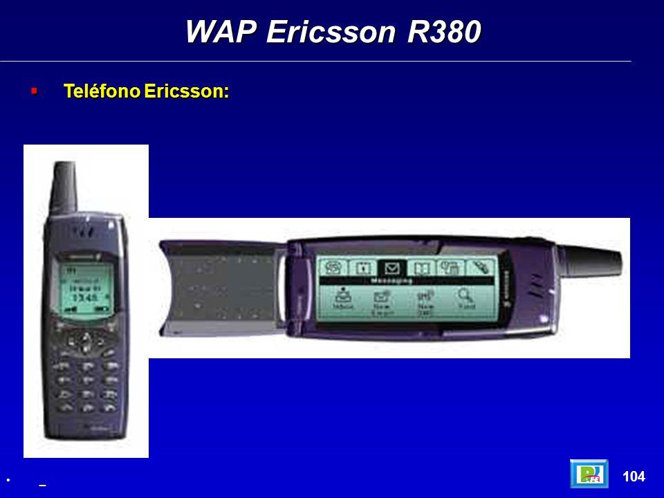 WAP Ericsson R380 Teléfono Ericsson: 104 _