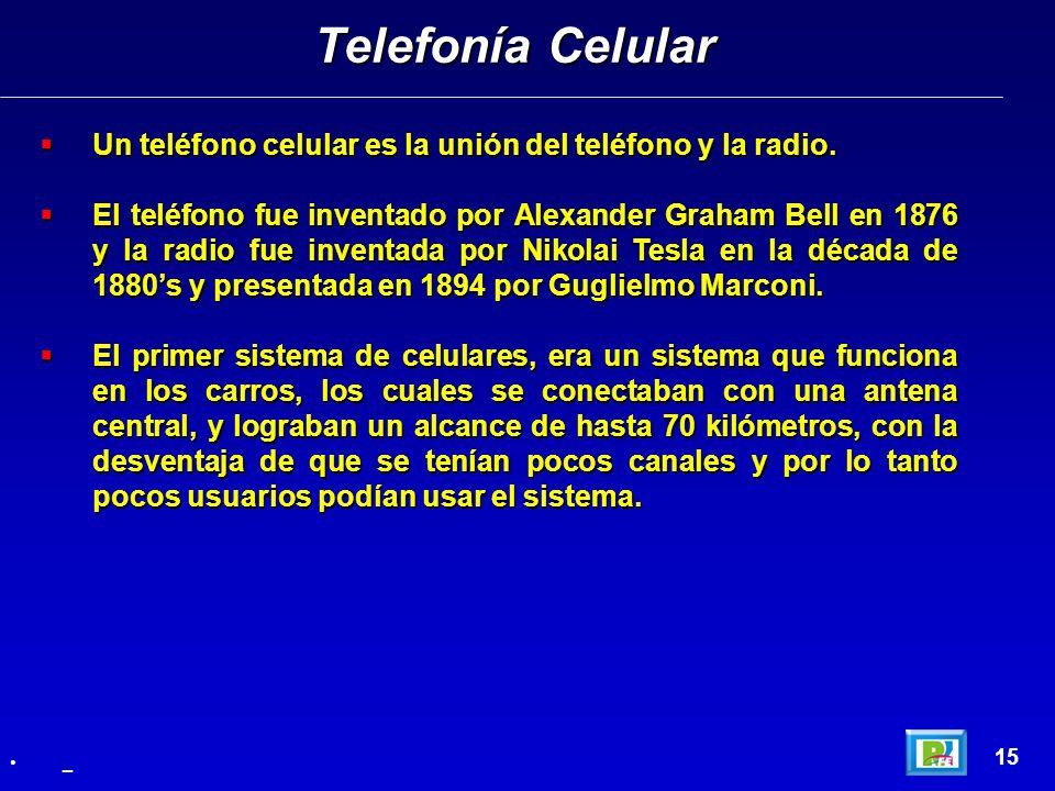 Telefonía Celular Un teléfono celular es la unión del teléfono y la radio.