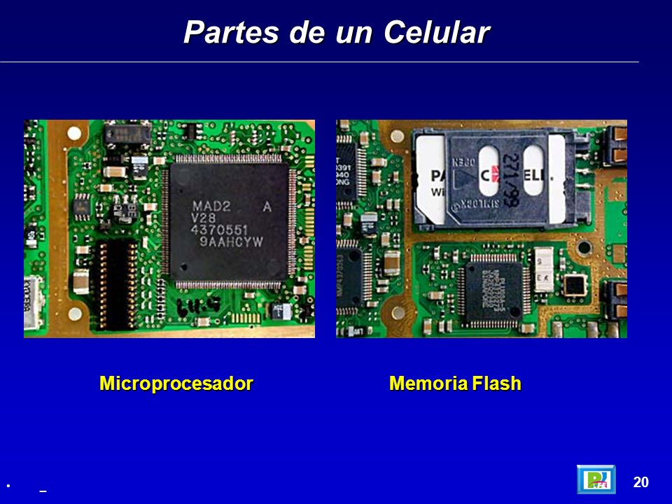 Partes de un Celular Microprocesador Memoria Flash 20 _