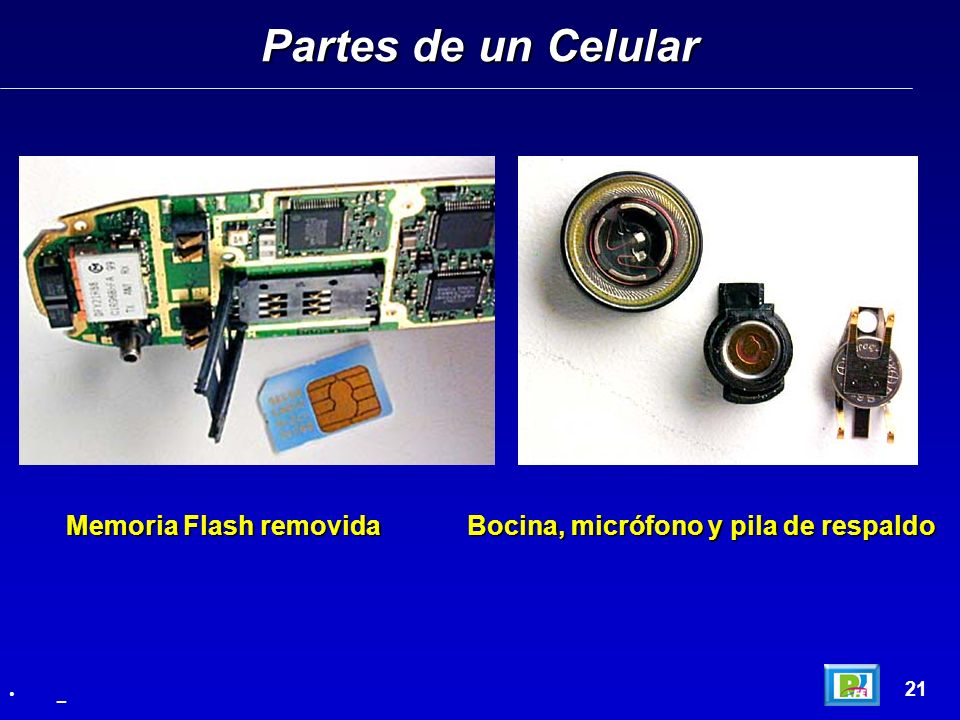 Partes de un Celular Memoria Flash removida Bocina, micrófono y pila de respaldo 21 _
