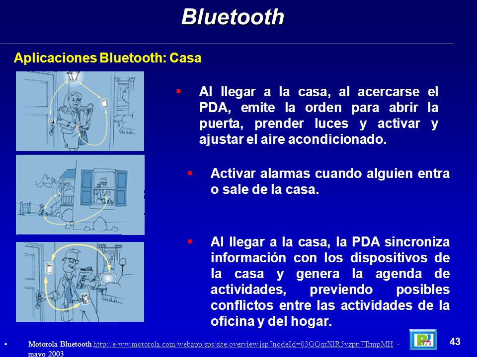 Bluetooth Aplicaciones Bluetooth: Casa