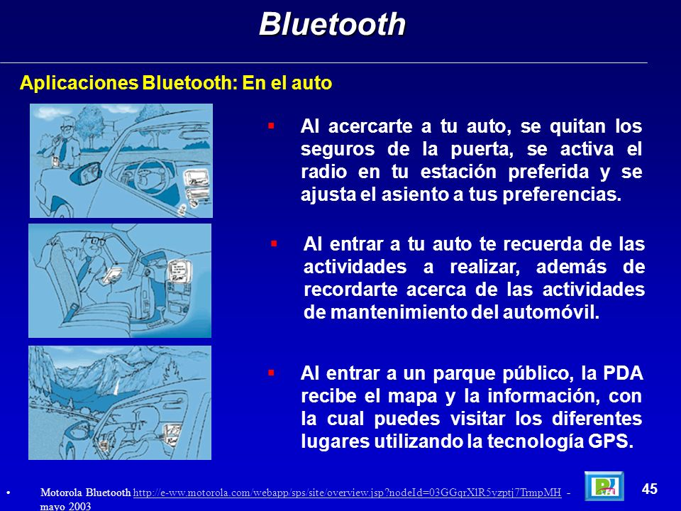 Bluetooth Aplicaciones Bluetooth: En el auto