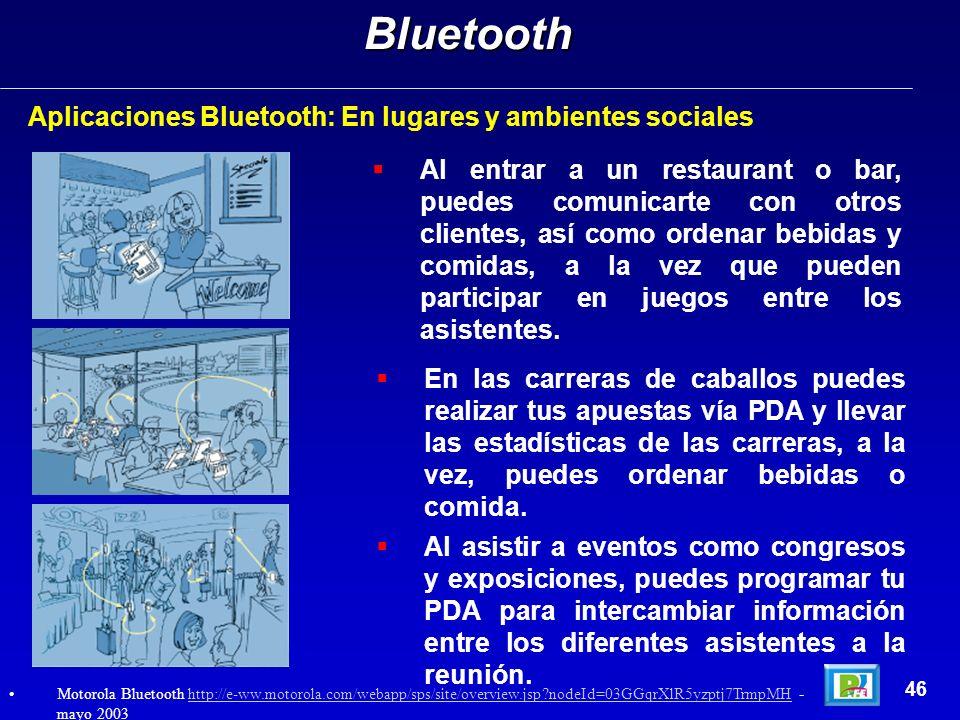 Bluetooth Aplicaciones Bluetooth: En lugares y ambientes sociales