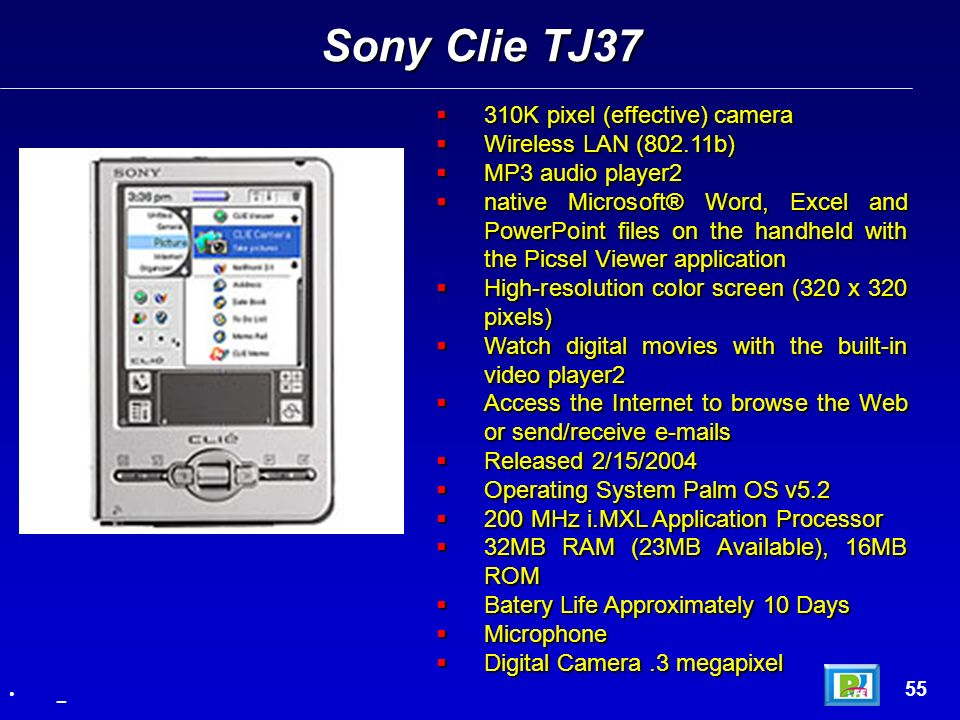 Sony Clie TJ37 310K pixel (effective) camera Wireless LAN (802.11b)
