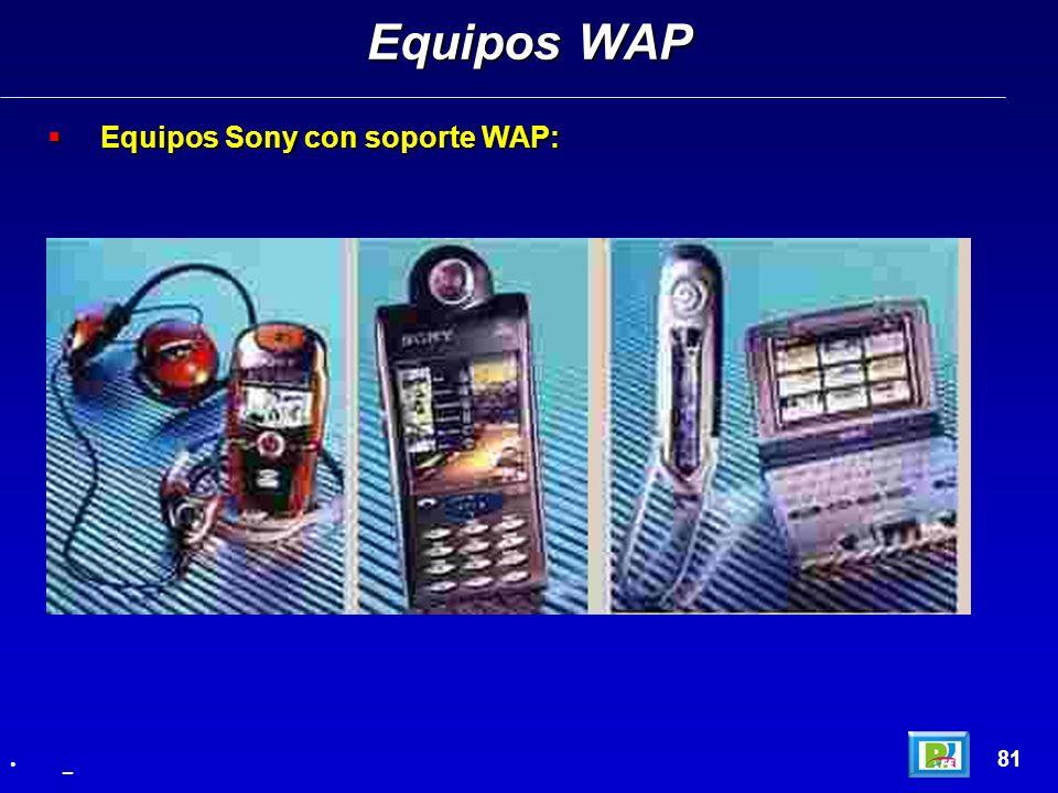 Equipos WAP Equipos Sony con soporte WAP: 81 _