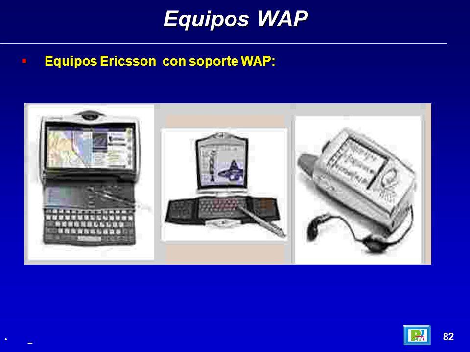 Equipos WAP Equipos Ericsson con soporte WAP: 82 _