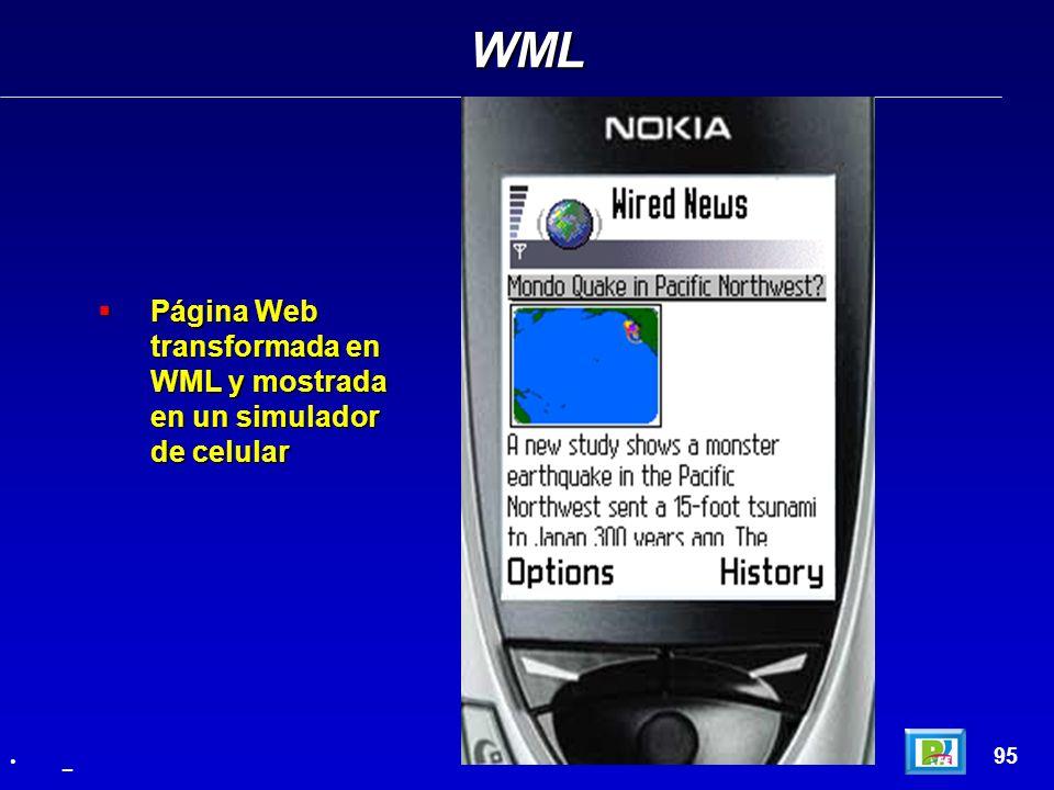 WML Página Web transformada en WML y mostrada en un simulador de celular 95 _