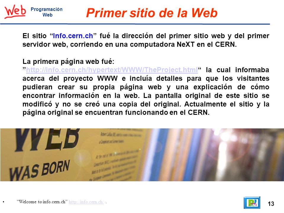 ProgramaciónWeb. Primer sitio de la Web.