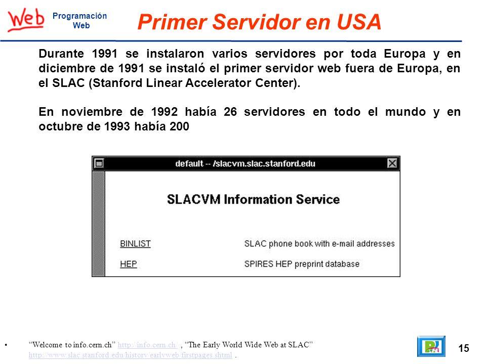 ProgramaciónWeb. Primer Servidor en USA.