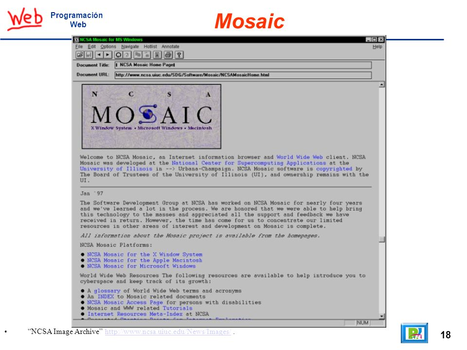 Mosaic 18 Programación Web