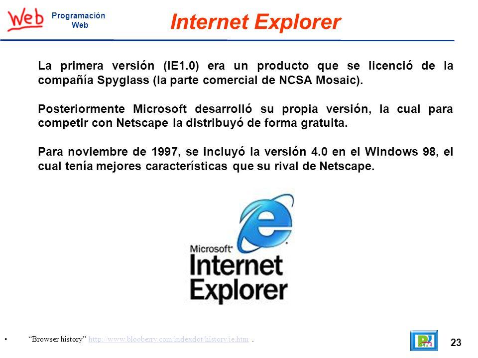Programación Web. Internet Explorer.