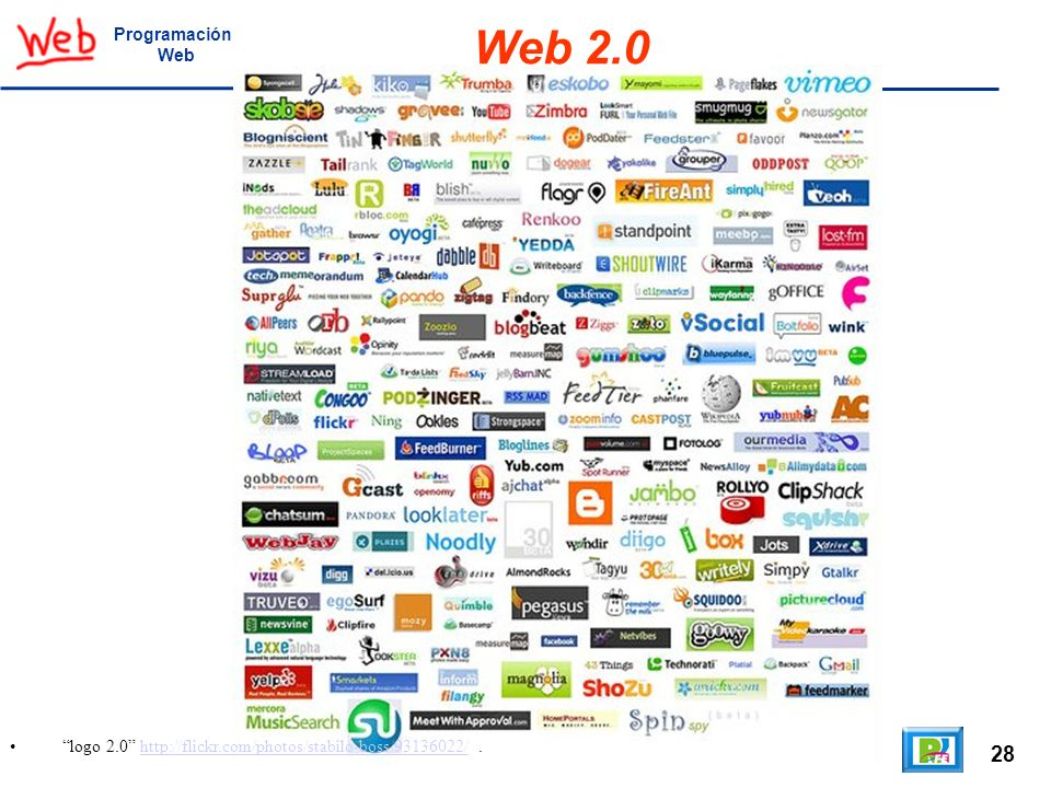 Programación Web Web 2.0 logo 2.0 http://flickr.com/photos/stabilo-boss/93136022/ . 28