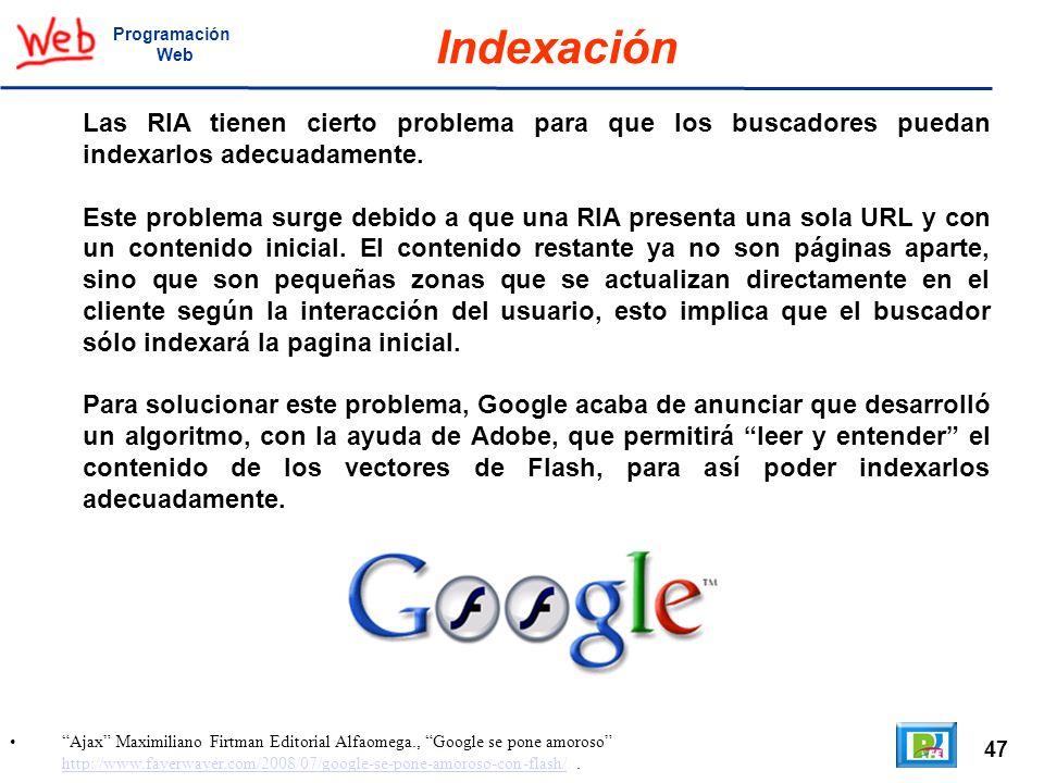 ProgramaciónWeb. Indexación. Las RIA tienen cierto problema para que los buscadores puedan indexarlos adecuadamente.