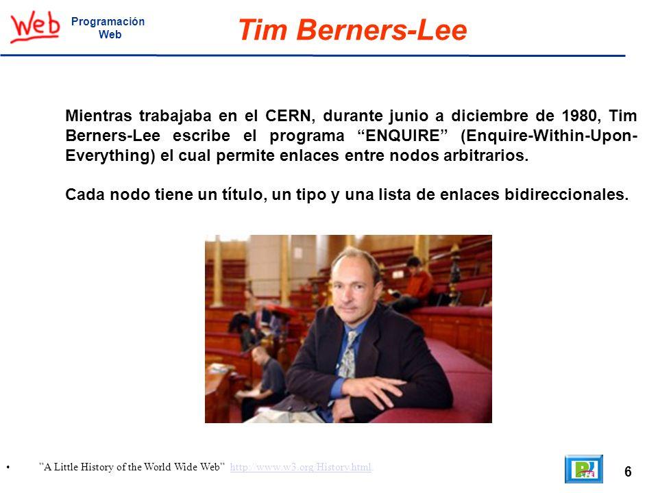 Programación Web. Tim Berners-Lee.