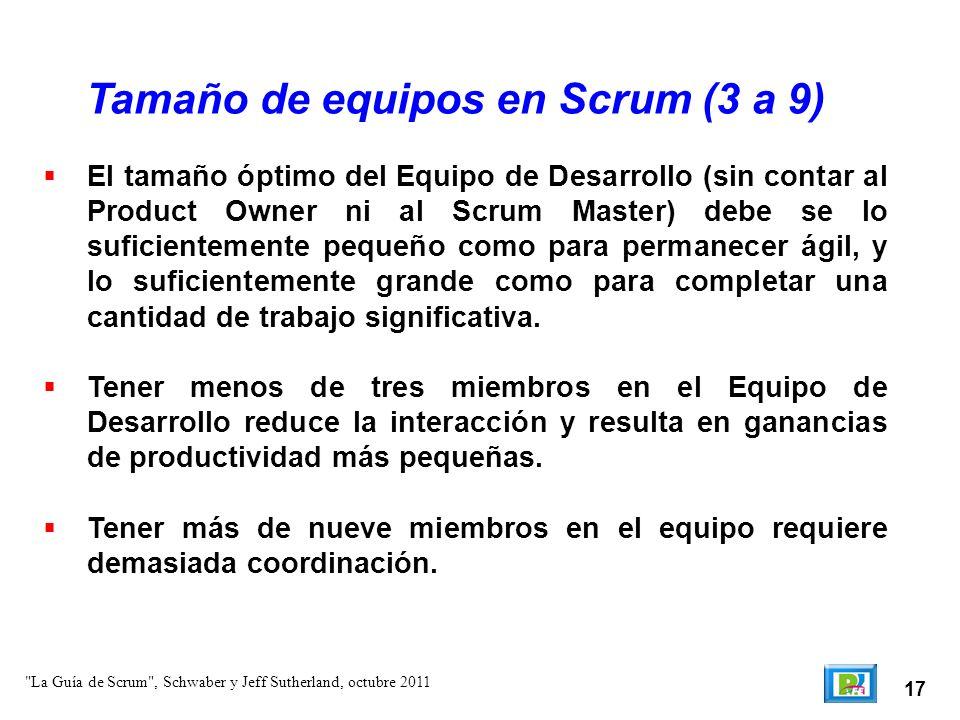 Tamaño de equipos en Scrum (3 a 9)