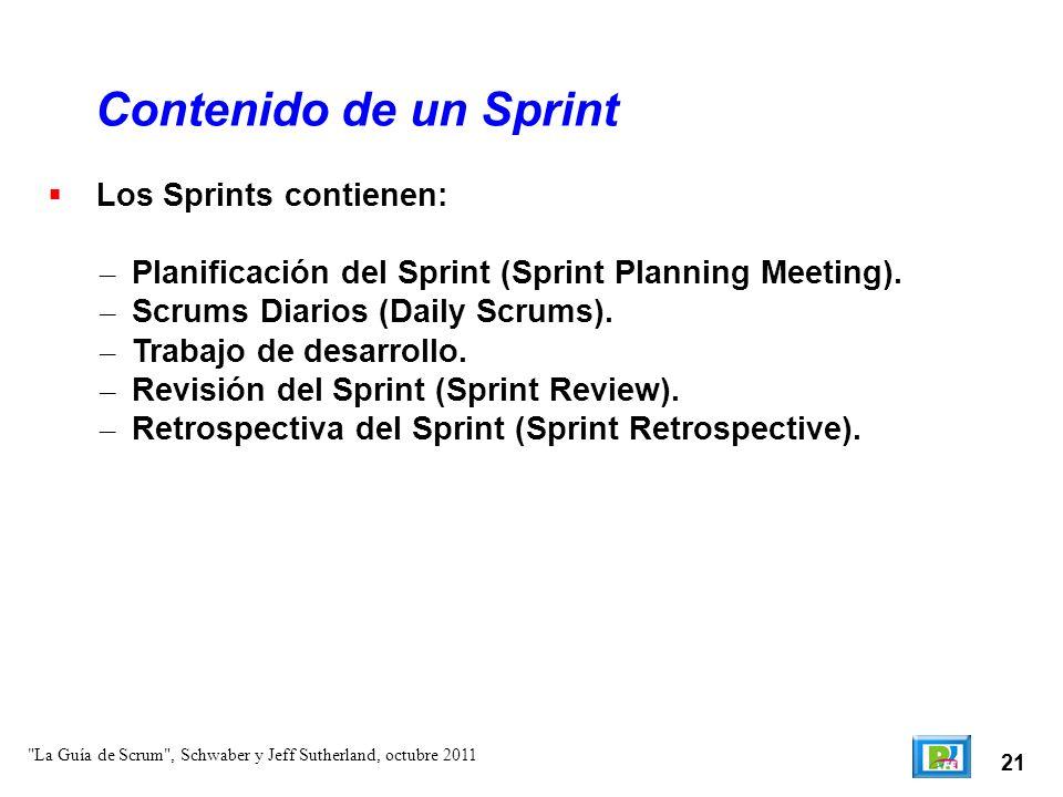 Contenido de un Sprint Los Sprints contienen: