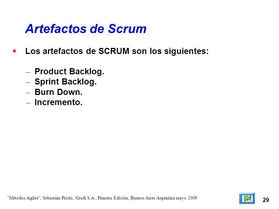 Artefactos de Scrum Los artefactos de SCRUM son los siguientes: