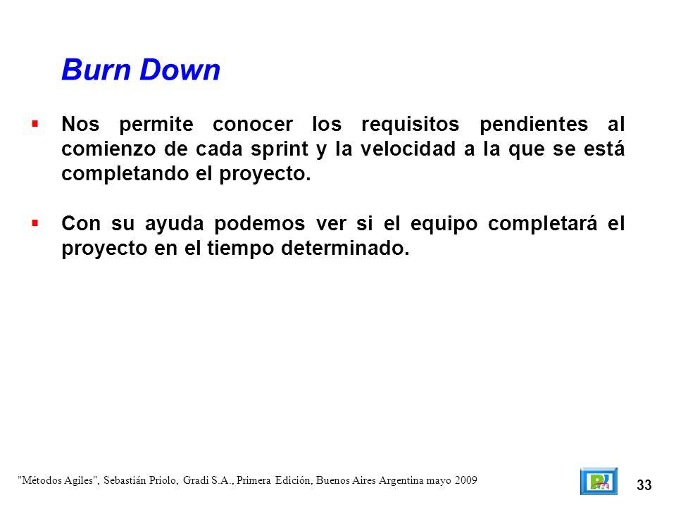 Burn Down Nos permite conocer los requisitos pendientes al comienzo de cada sprint y la velocidad a la que se está completando el proyecto.