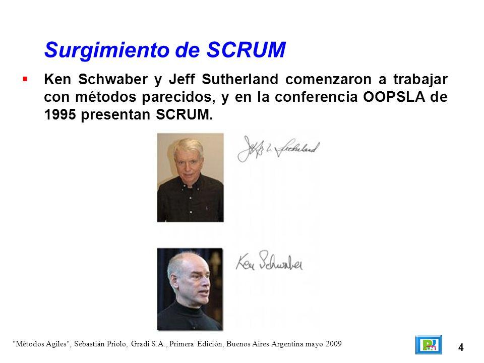 Surgimiento de SCRUM Ken Schwaber y Jeff Sutherland comenzaron a trabajar con métodos parecidos, y en la conferencia OOPSLA de 1995 presentan SCRUM.
