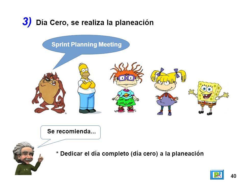 3) Día Cero, se realiza la planeación Sprint Planning Meeting