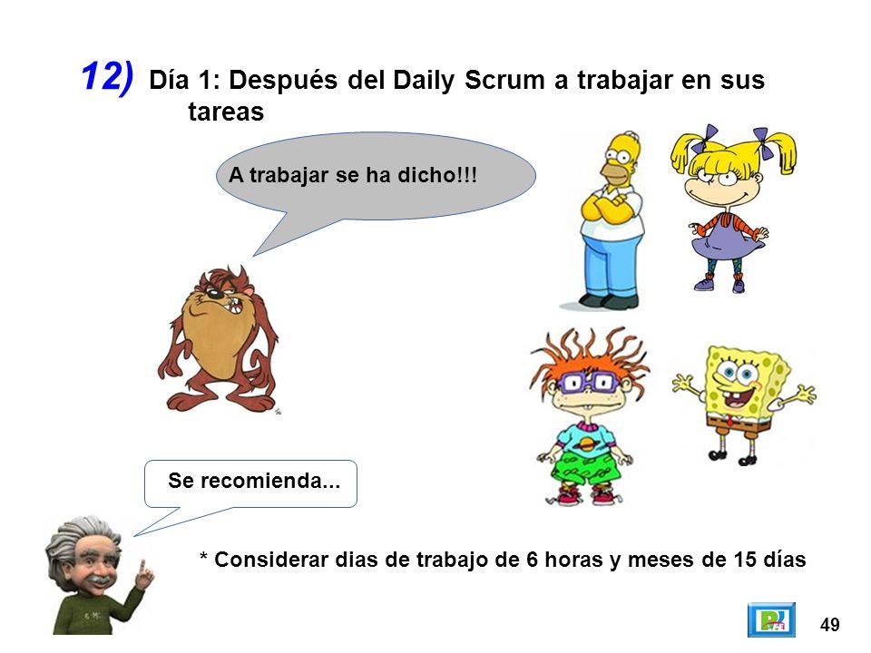 12) Día 1: Después del Daily Scrum a trabajar en sus tareas