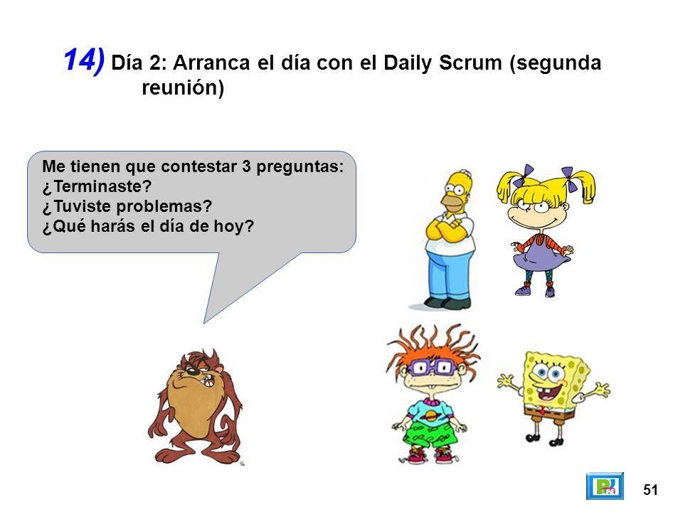 14) Día 2: Arranca el día con el Daily Scrum (segunda reunión)