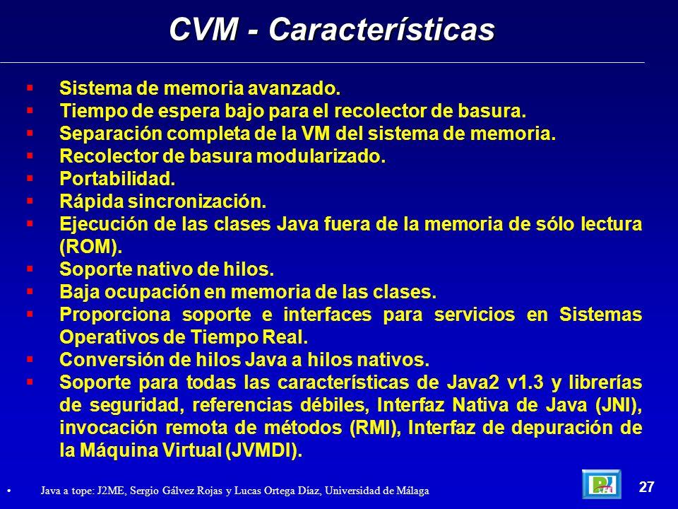 CVM - Características Sistema de memoria avanzado.
