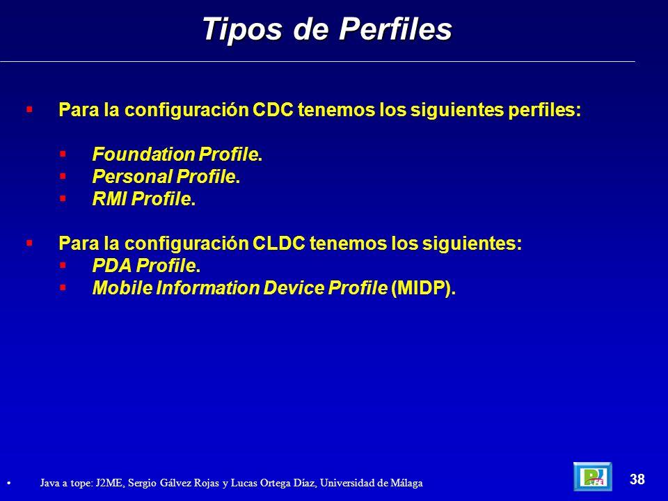 Tipos de Perfiles Para la configuración CDC tenemos los siguientes perfiles: Foundation Profile. Personal Profile.