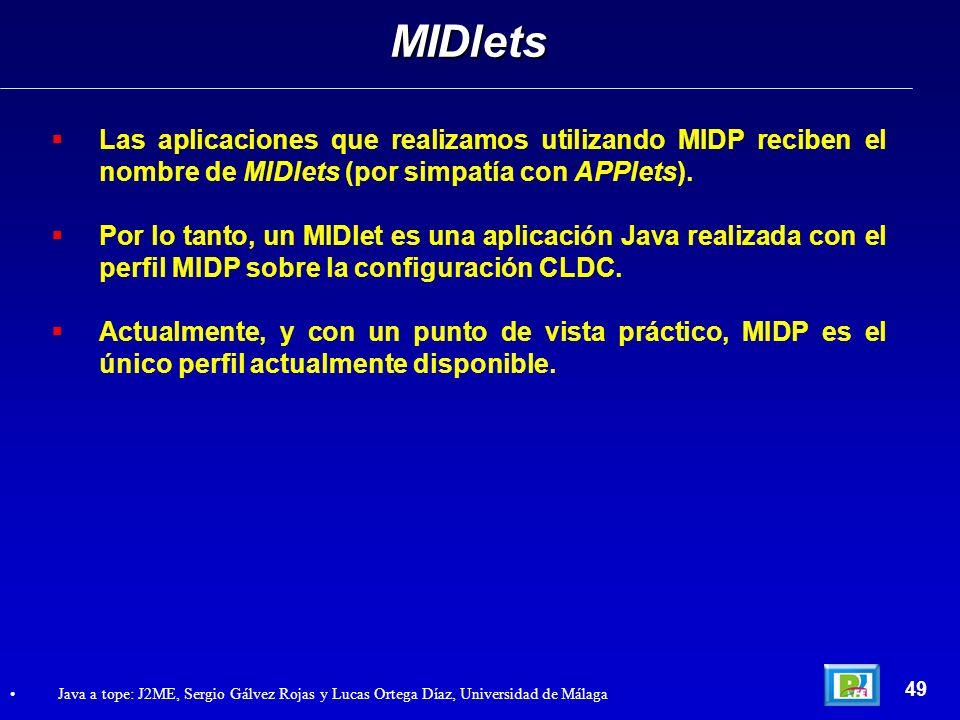 MIDlets Las aplicaciones que realizamos utilizando MIDP reciben el nombre de MIDlets (por simpatía con APPlets).