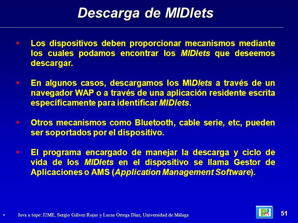 Descarga de MIDletsLos dispositivos deben proporcionar mecanismos mediante los cuales podamos encontrar los MIDlets que deseemos descargar.