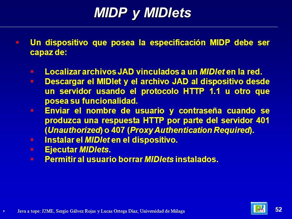 MIDP y MIDletsUn dispositivo que posea la especificación MIDP debe ser capaz de: Localizar archivos JAD vinculados a un MIDlet en la red.