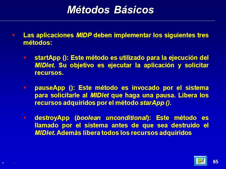 Métodos BásicosLas aplicaciones MIDP deben implementar los siguientes tres métodos: