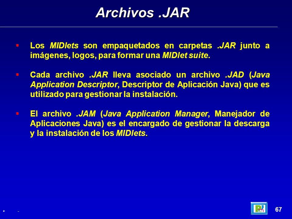 Archivos .JAR Los MIDlets son empaquetados en carpetas .JAR junto a imágenes, logos, para formar una MIDlet suite.